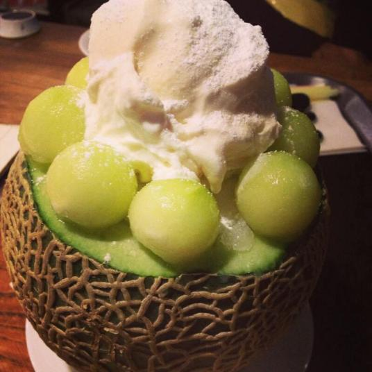 melon shaved ice desserts
