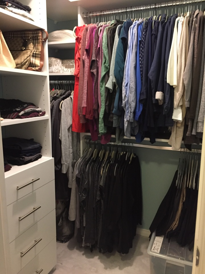 Picture of an organized walk-in closet