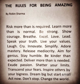 The Rules for being Amazing quote by Robin Sharma